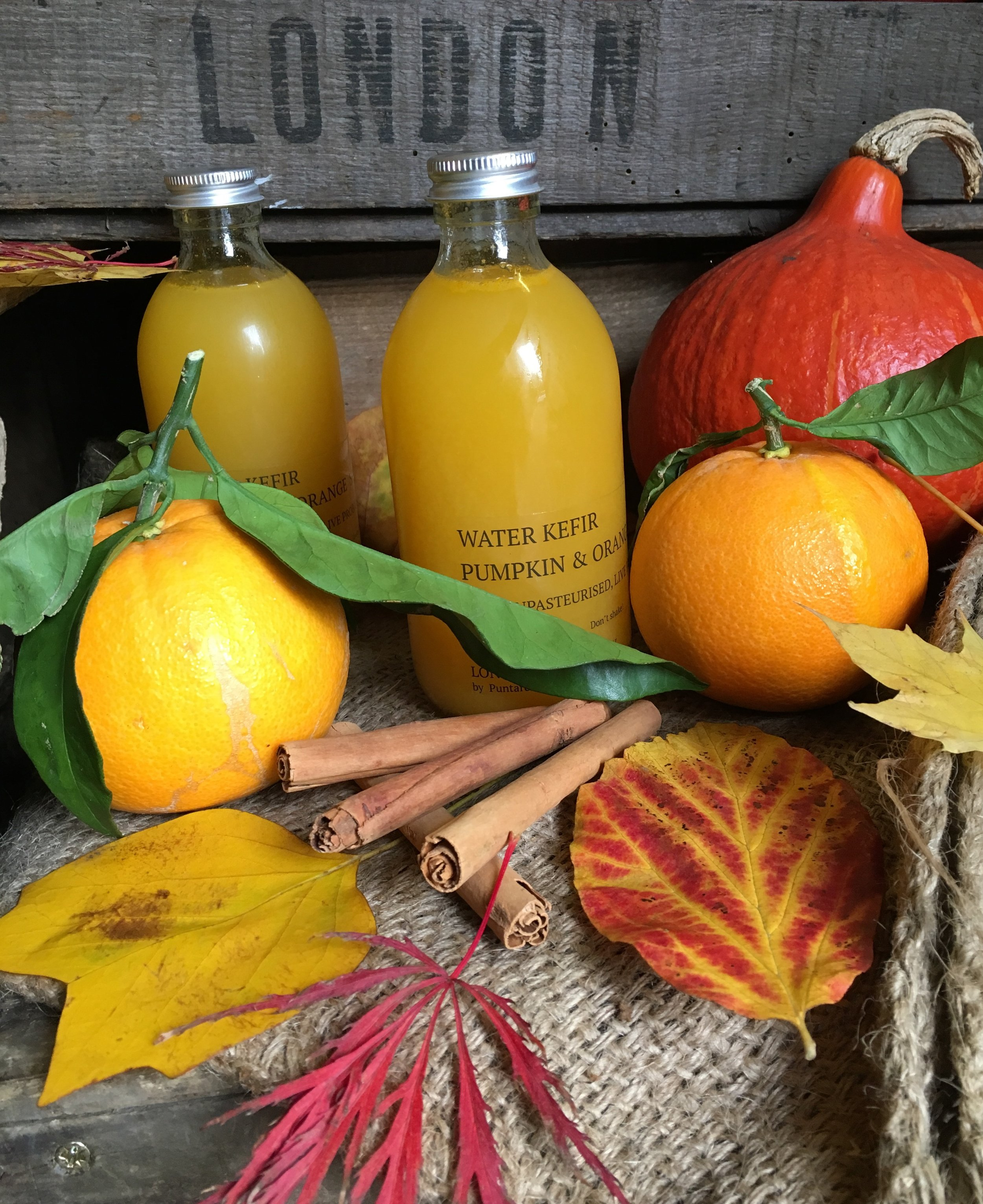 Pumpkin & Orange Spice Water Kefir    Photo © Puntarelle&Co Ltd    Our thoughts are turning to a festive Christmas and with this in mind we have introduced this seasonal Water Kefir made with new season pumpkin and Navelina Orange. With notes of orange and gingerbread, we think this warming Kefir catches the mood of the time of year perfectly. Like all our Water Kefirs, this unpasteurized probiotic drink brings beneficial micro-organisms, B vitamins, minerals and enzymes in a slightly sour, zingy, low sugar form.   More about our range of Fermented products at:    www. londonfermentary.com