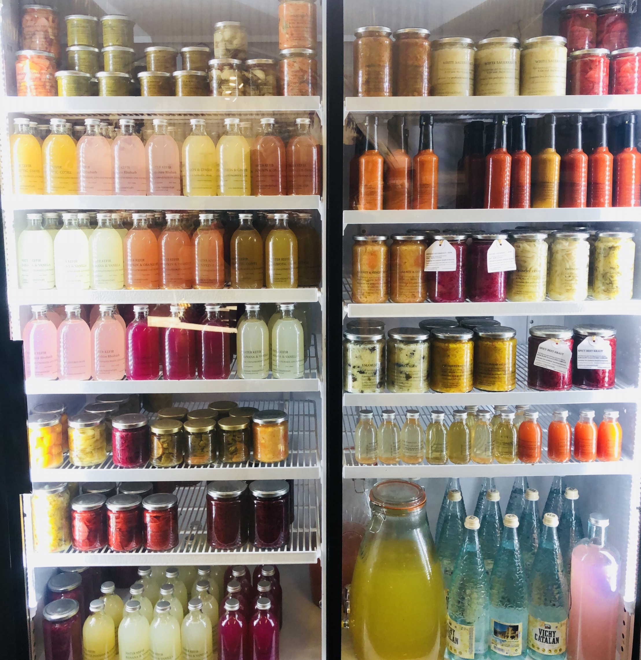 Our Lacto Fermented Fridge       Photo ©Puntarelle&Co     NEW Brand:   As you will have seen from our fridge, we have been developing fermented products based on a modern interpretation of our heritage of minimum waste and preserving the seasons. Scientific studies have shown that the nutritional value of vegetables can be enhanced by lactic acid fermentation. Their beneficial effects on digestive and other aspects of our health is a subject close to our hearts.   We will be launching our new brand  London Fermentary  in the near future and you will start to see it appearing on the labels on our fermented products. Please continue to enjoy our ferments and any feedback you can give us will be welcomed. This will help us focus on the ones we should keep.