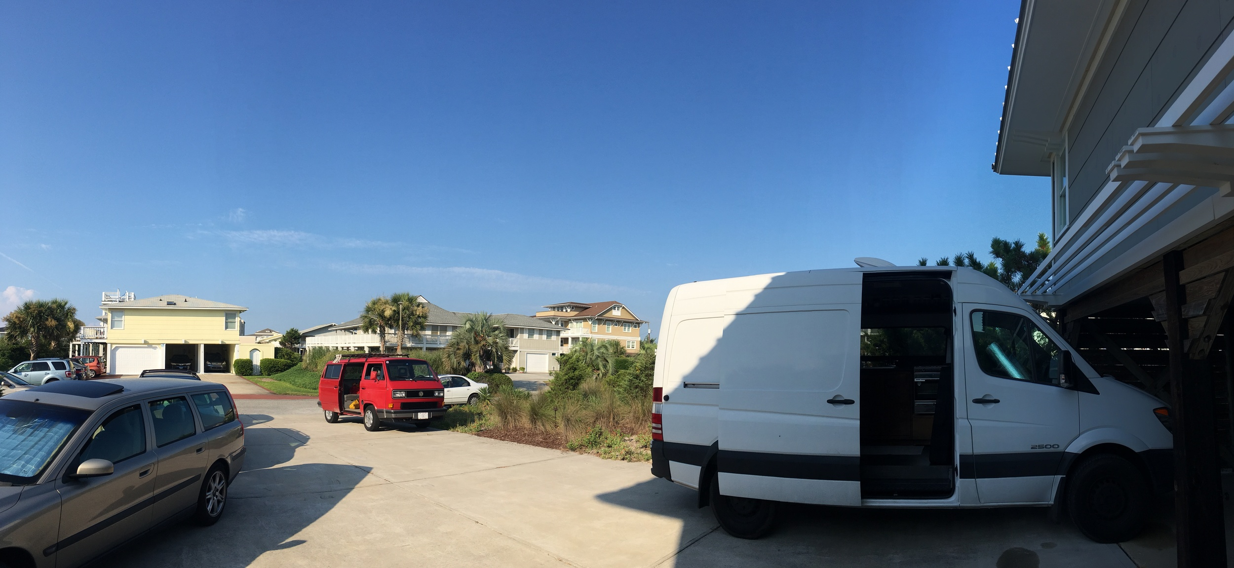 Camping out in the driveway at the beach