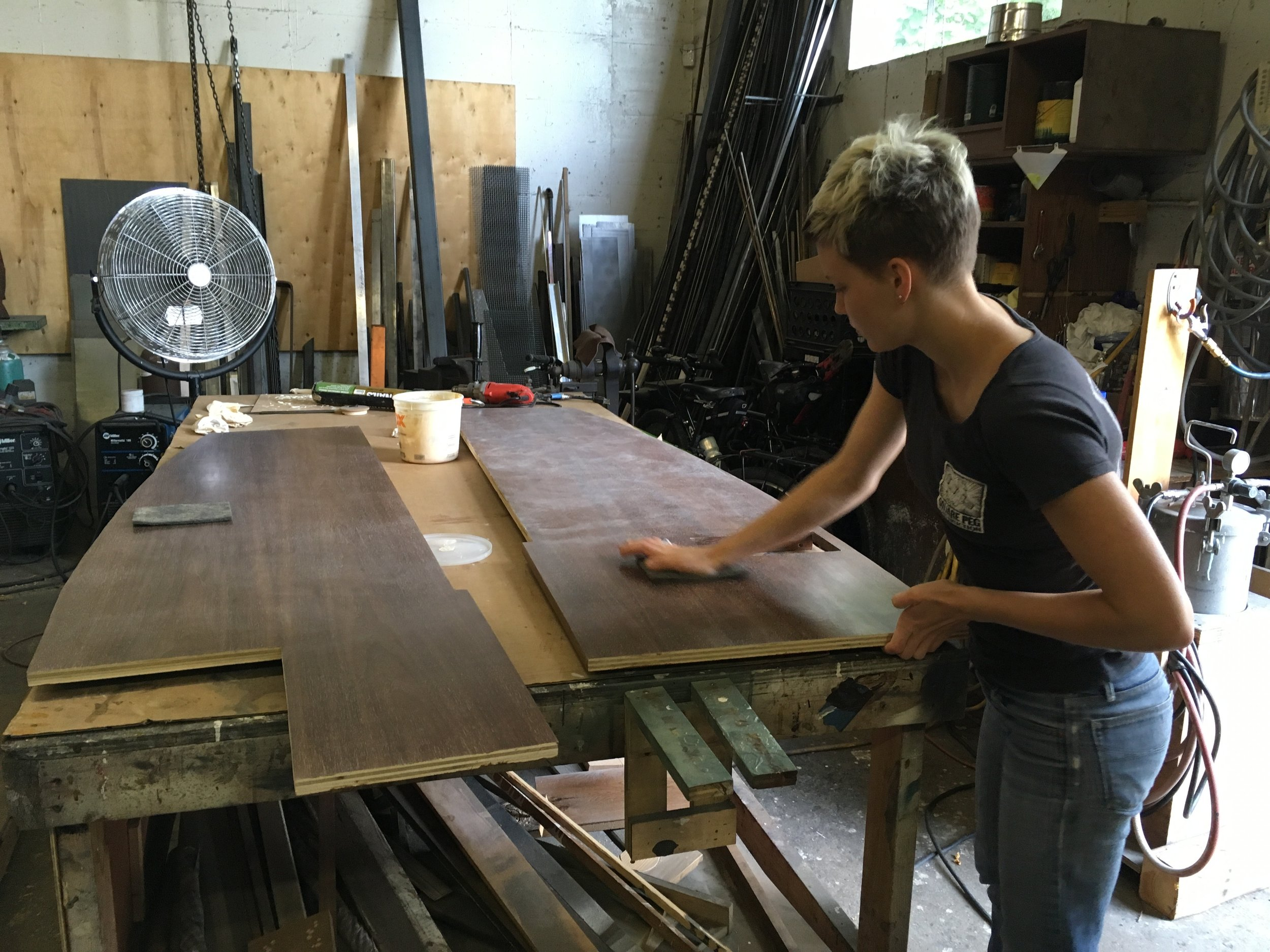 Do you want to spend hours scrubbing custom wax finishes onto walnut ply?
