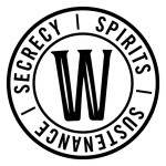 Whisper house logo with circle, letter W and the words Secrecy, Spirits, and Sustenance