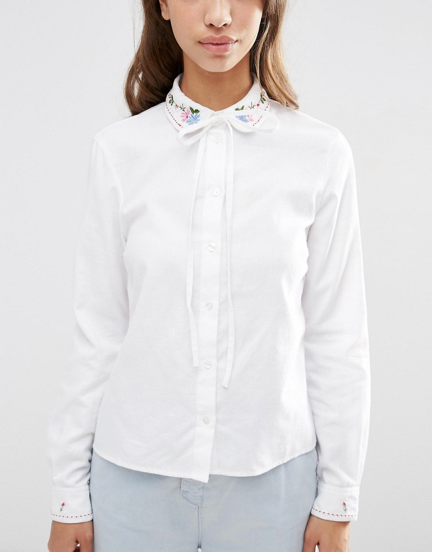 Asos Embroidered Collar Casual Pussy Bow Shirt
