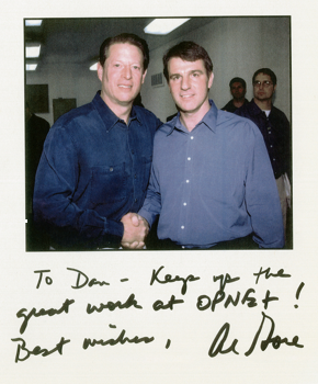 With Vice President Al Gore at a 2000 Presidential campaign event hosted by OpNet