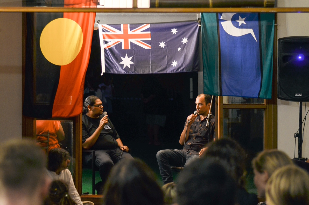 2016 January 22nd Preston Peachey Sharing his story at our YARN on the Rooftop gathering at the Captain Cook Hotel.