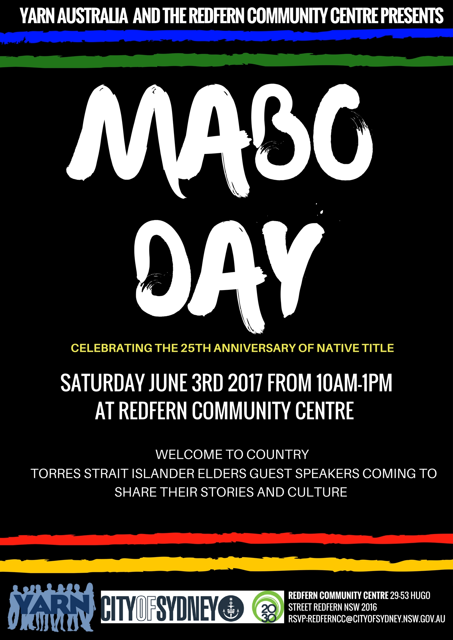 2017 JUNE 3RD YARN Australia Partners with City of Sydney Redfern Community to Commemorate Mabo Day