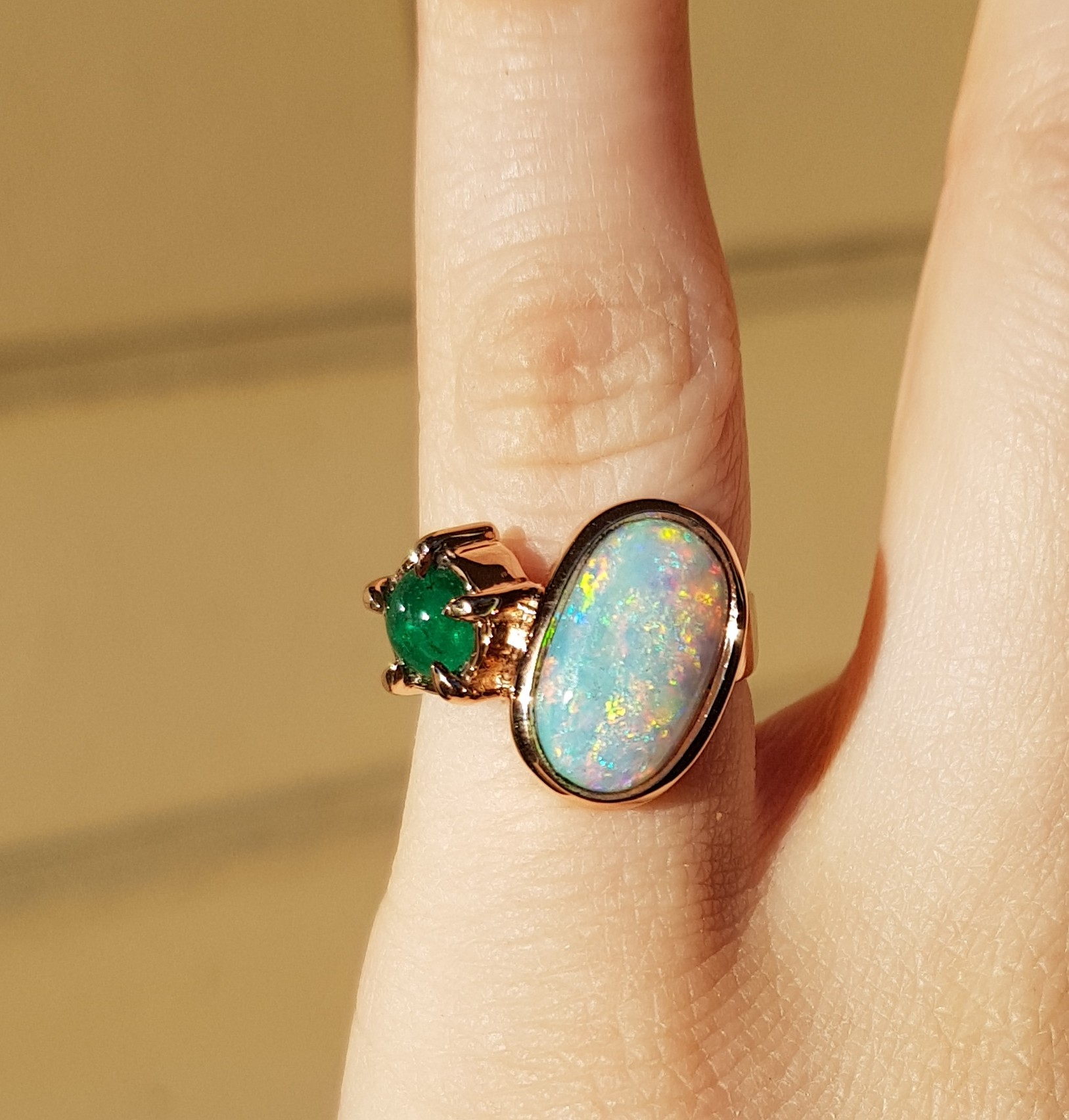 Engagement Ring - Australian Opal, Emerald, 18ct Rose Gold