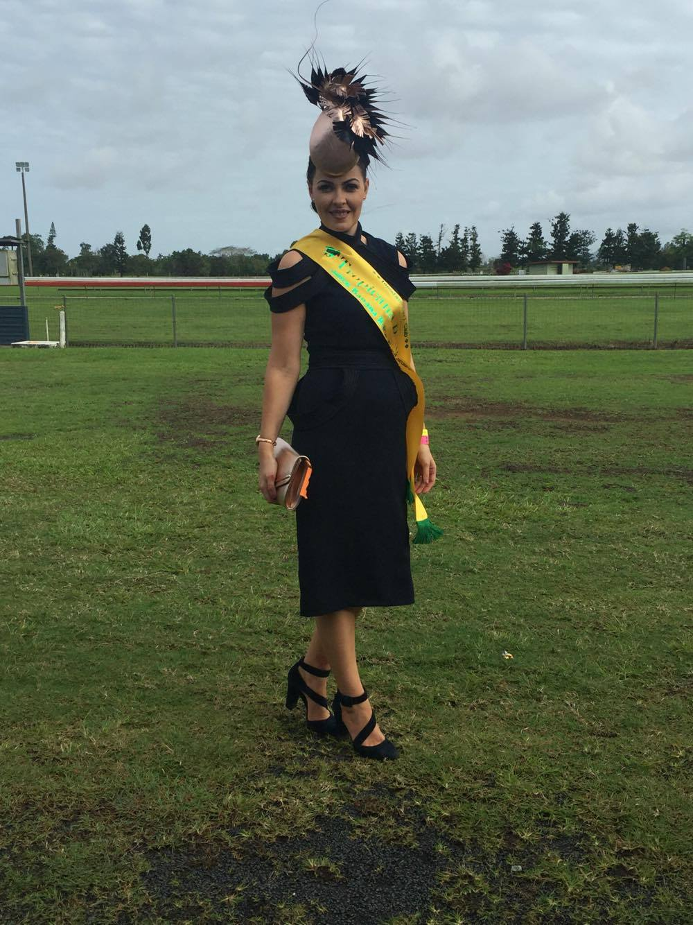 Gorgeous client Lucy wearing her custom Milva Carucci Designs dress  Winner of Contemporary Under 30 and best Millinery at Innisfail Banana Races