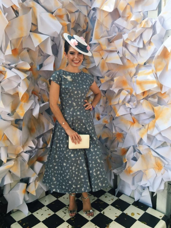 Gorgeous Bella in her amazing classic twist dress making the Finals of Fashions on the Field   Complemented by Sonlia Millinery