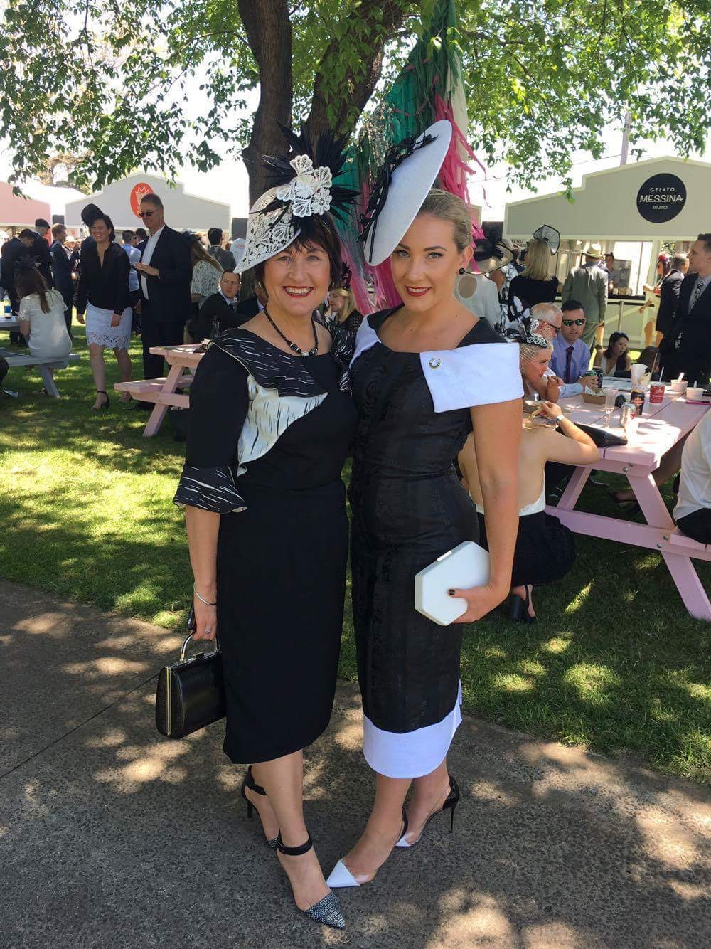 Mum and I enjoying the first day of fashion and race day fun  Both wearing custom Milva Carucci Design dresses & Sonlia Millinery (L) and Allport Millinery (R) (Photo by Liana Hastie)