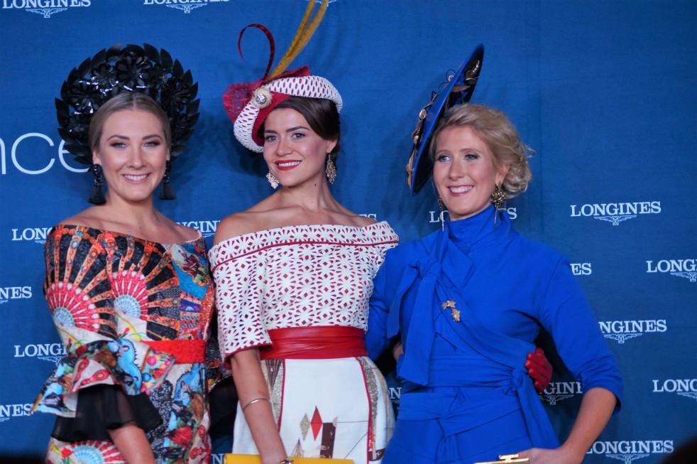 Longines Prize of Elegance Top 3  Middle - Oliviva Moor (winner) Right - Dimity Vanderpot  image: Melissa Barnes of  Racewear Carousel