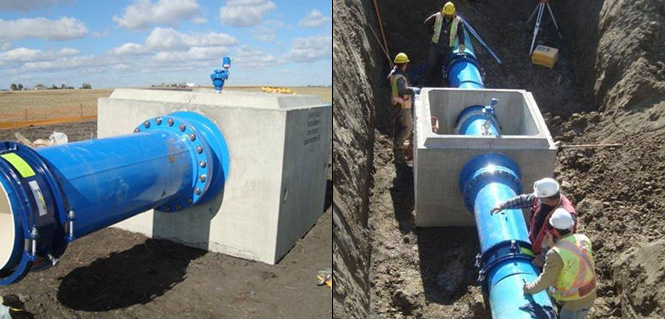 Photo: ARI D060 air release vacuum combination valve being installed with the new high pressure water line.