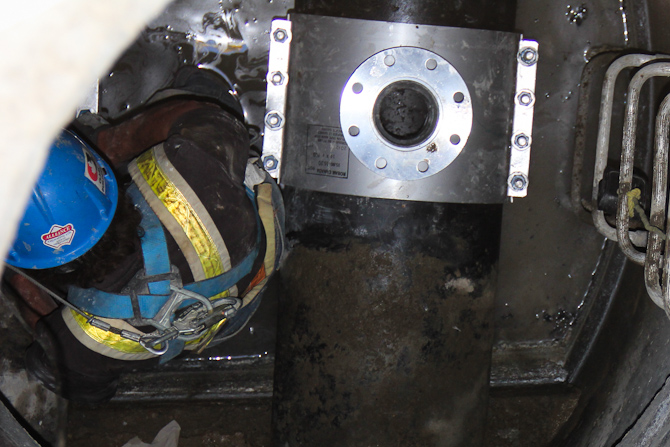 Tapping sleeve is installed and ready for isolation valve and air valve to be bolted on.