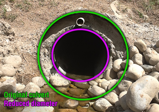 """This culvert's ID was reduced from 48"""" to 30"""". The CentriPipe culvert's new ID is 46""""."""