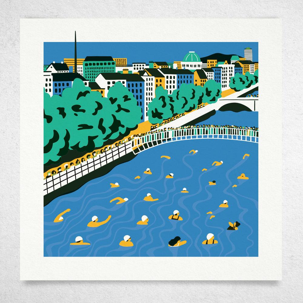 Liffey Swim • Screen Print • €90
