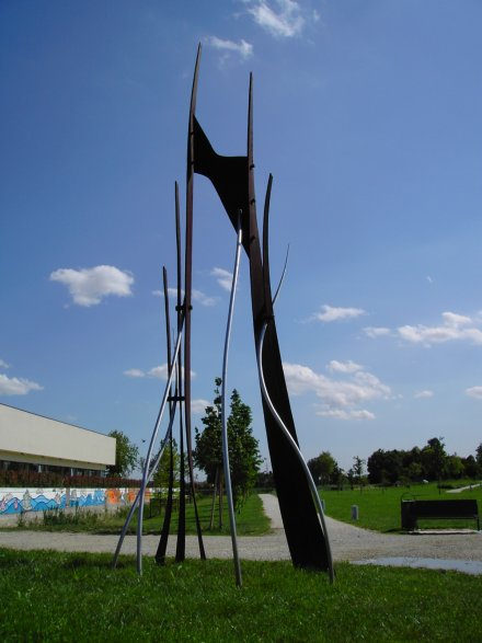 Light and Shadow, Forged Steel and Stainless Steel, 2007, 14'x6'x2'