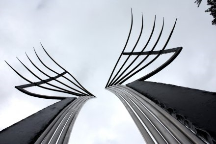Icarus, Forged Steel and Stainless Steel, 2011, 14'x6'x2'