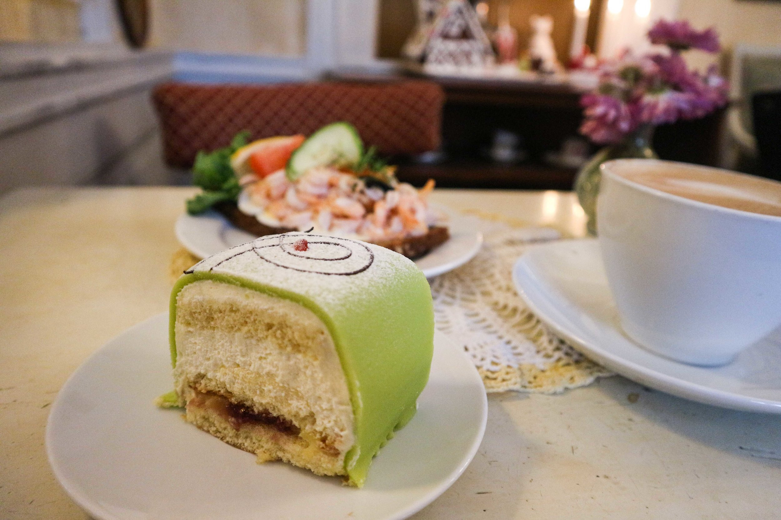 Swedish Princess Cake and Smörgås lunch.