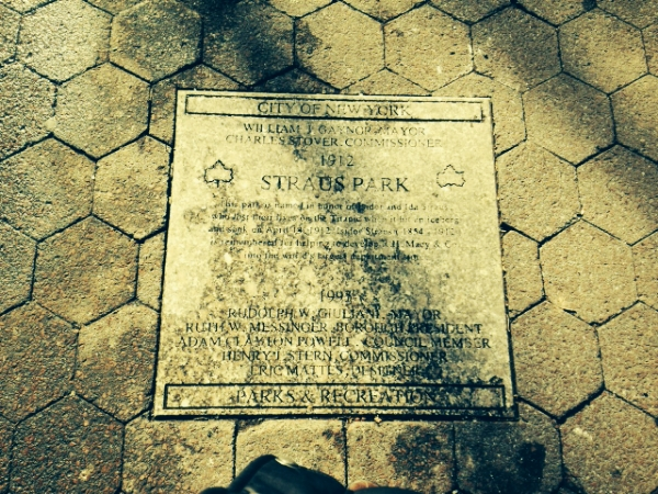 Plaque located in Straus Park