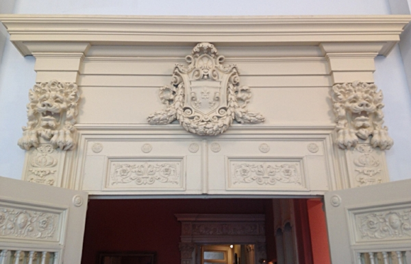 Detail above the door of the Grand Hall of Aaron Shikler's studio at 44 West 77th Street