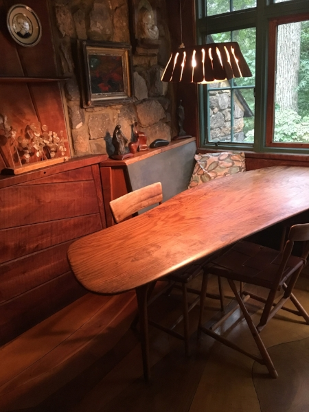 Dining area including light fixture and floors also created by Wharton Esherick