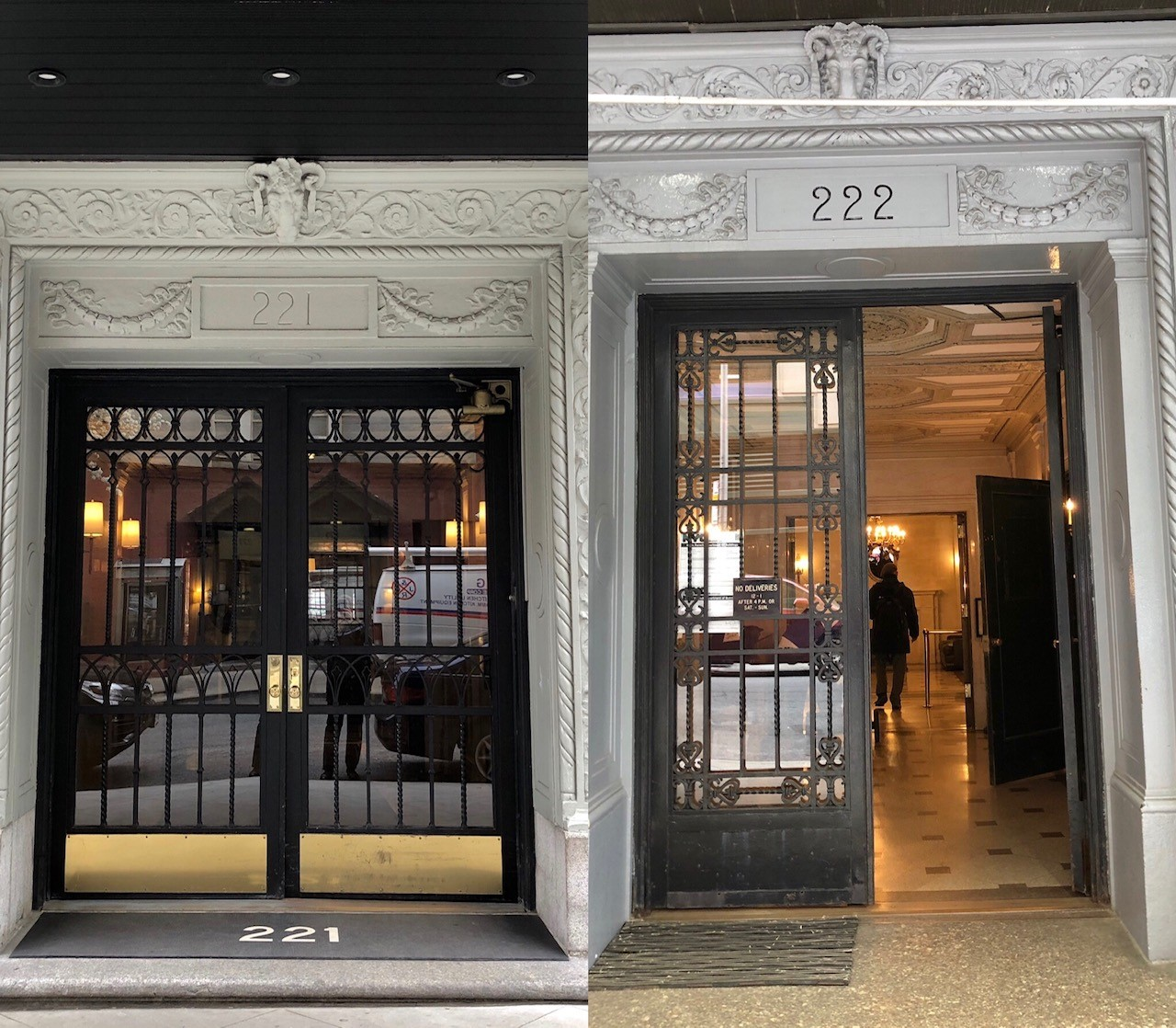 Similarities of the Front Entrances - 221 W. 82nd is a Condop and 222 W 83rd is a Rental Building