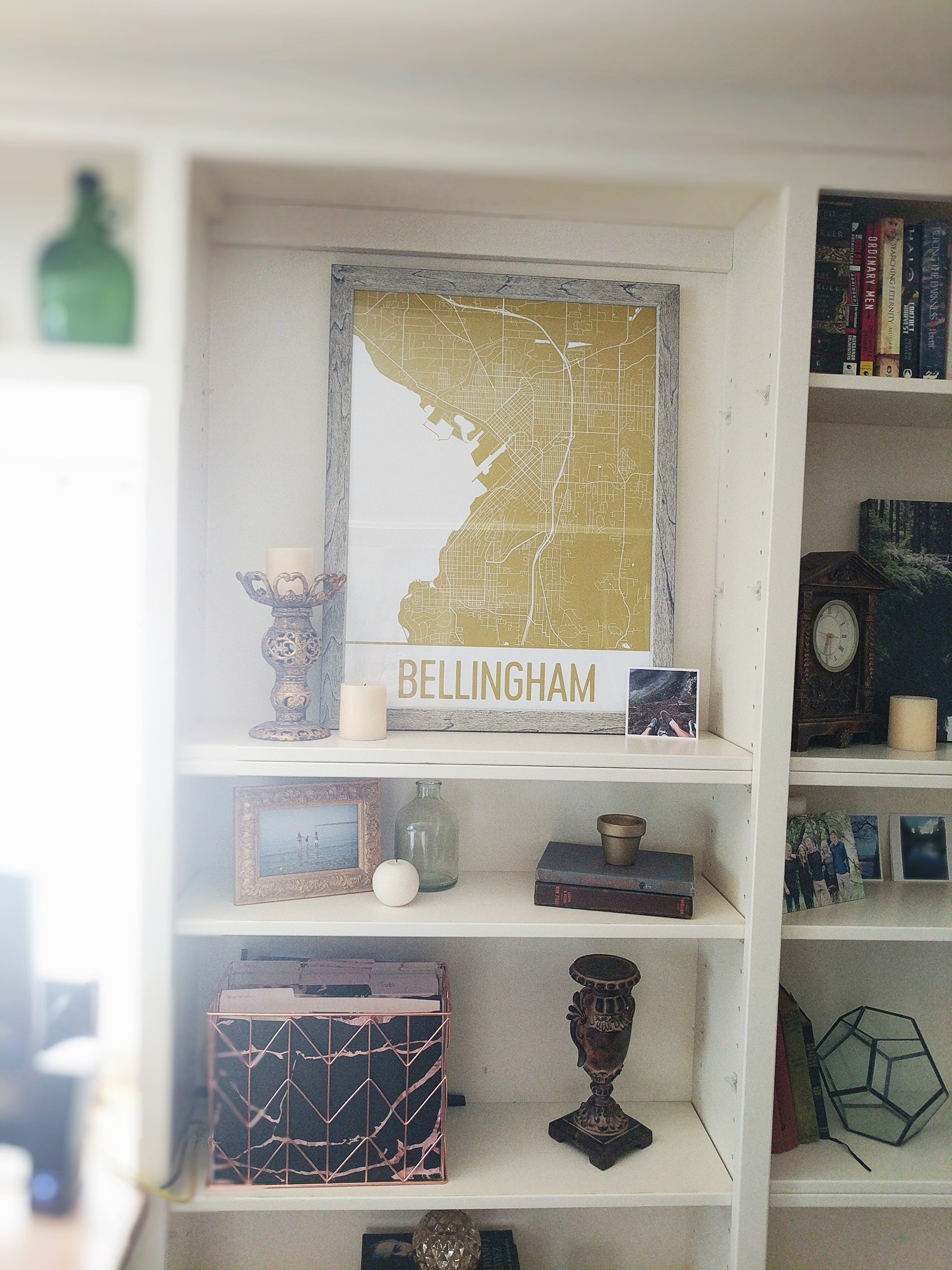 How to decorate built in shelves.