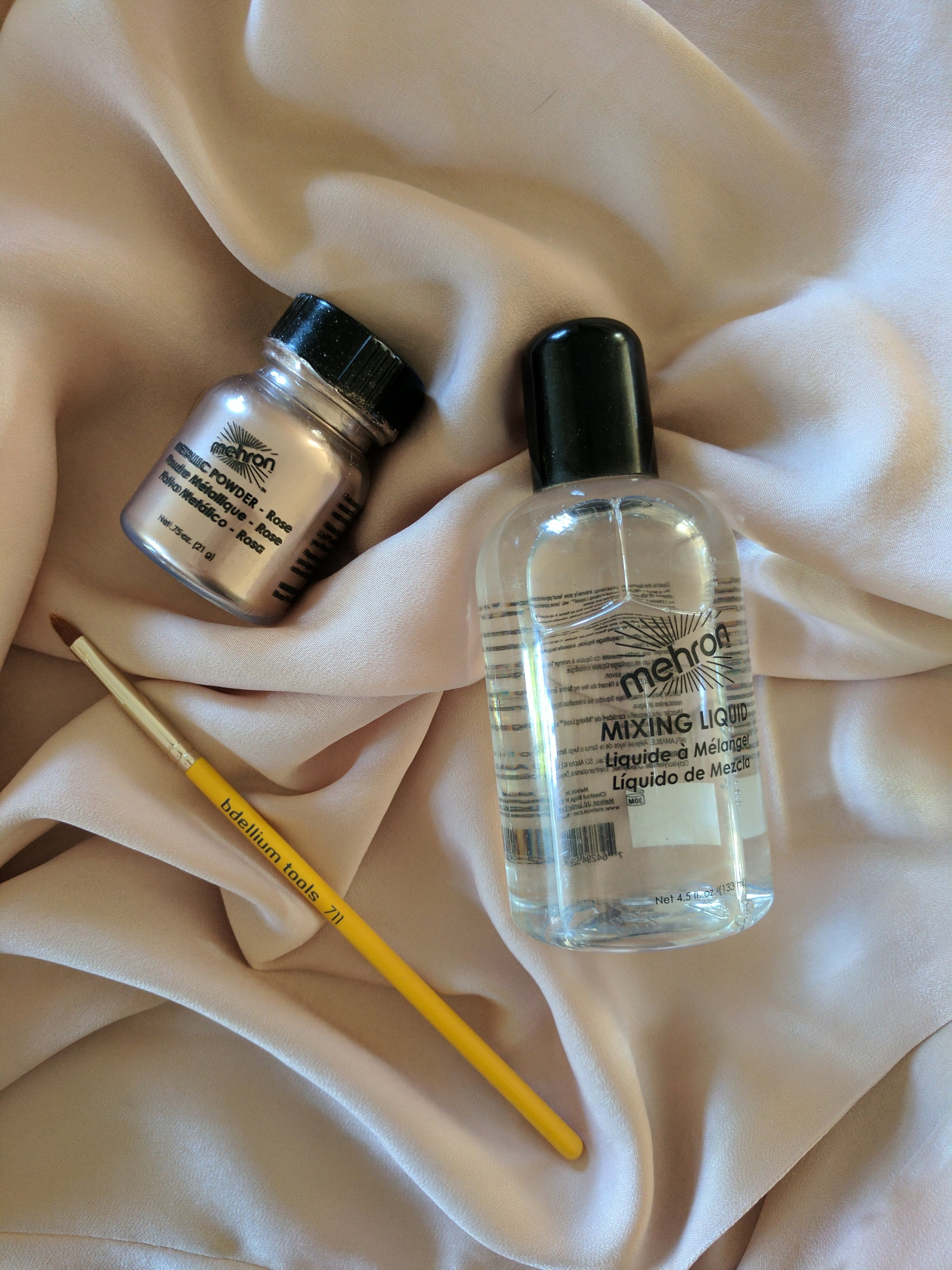you will need... - -Mehron Metallic Powder in Rose (you could also use a well pigmented eye shadow)-Mehron Mixing Liquid-Bdellium 711 brush (or a small lip brush)
