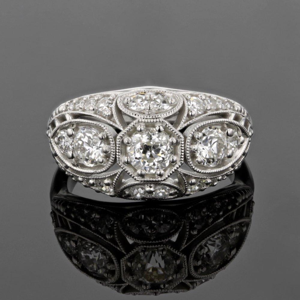 Custom Edwardian Inspired Ring with Antique Diamonds