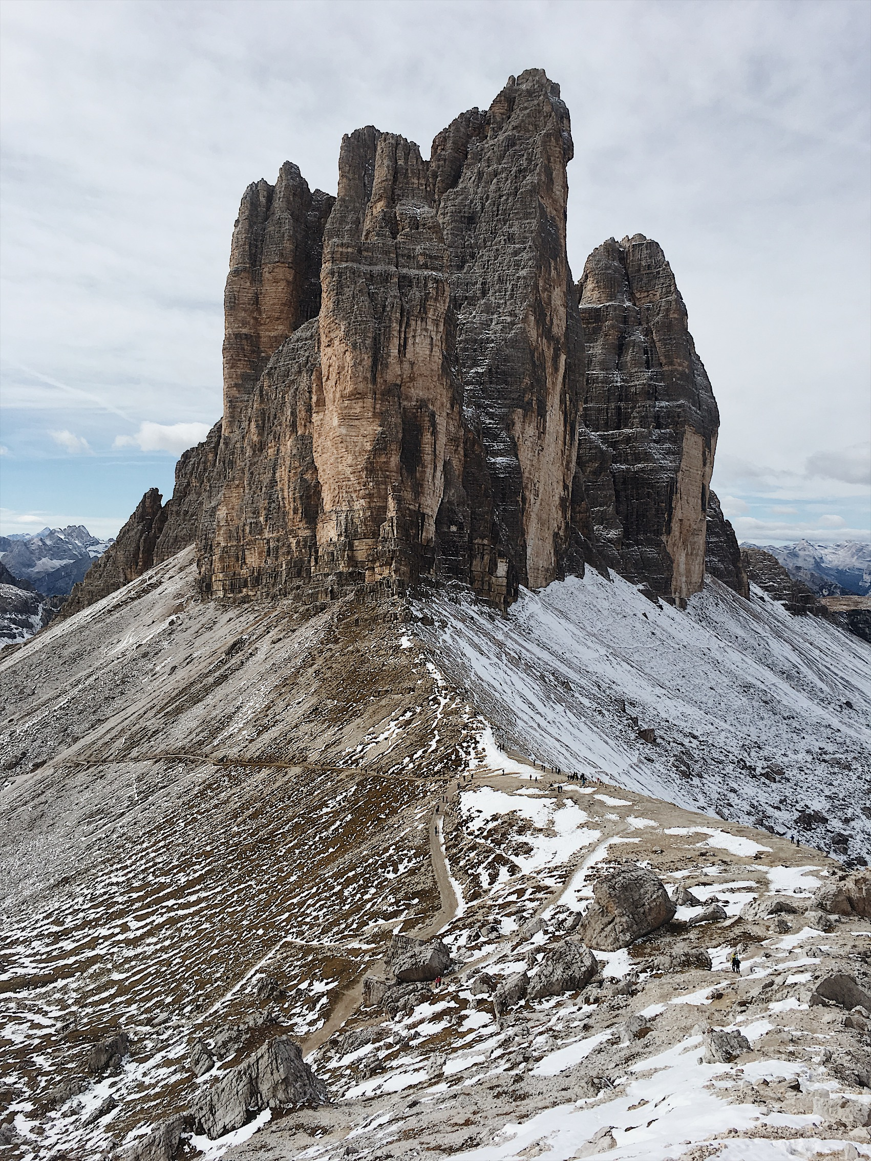 Tre Cime, checkout the tiny people on the path!