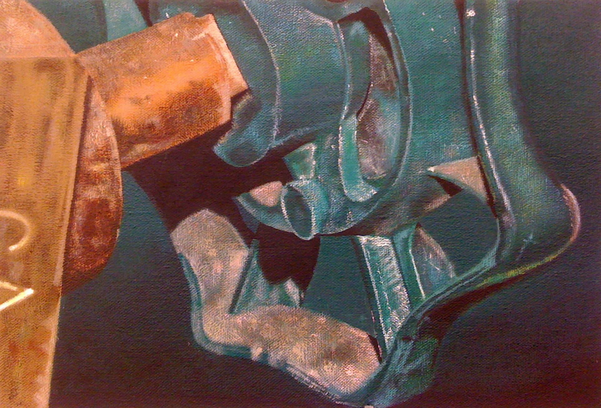 "Green Valve| H. 9"" W. 13"" | Acrylic on canvas | 2011"