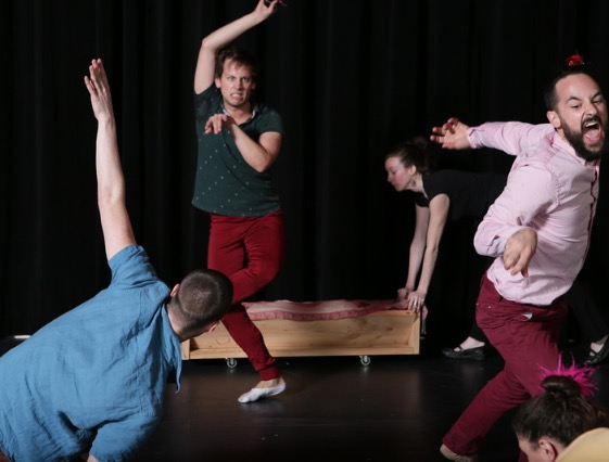 Why not Brunch? presented for the NYC10 finale in 2014 at Dixon Place in New York. Dancers from Left to right are, Quinn Dixon, Ben Follensbee, Molly Mingey, Steven Zarzecki, and Maya Orchin. Choreography: Molly Mingey. Photo Credit: Peter Yesley