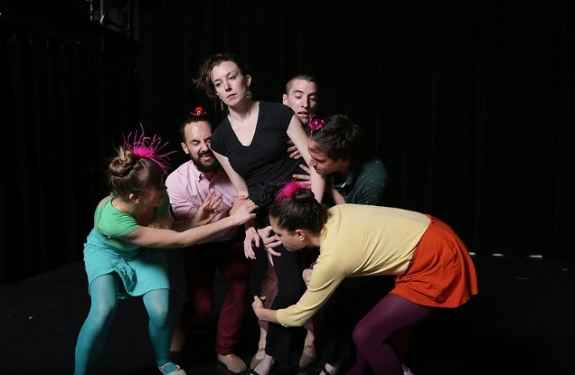 Why not Brunch? NYC10 Finale 2014. Dancers left to right Paulette Lewis, Steven Zarzecki, Molly Mingey, Quinn Dixon, Ben Follensbee, Maya Orchin. Choreography: Molly Mingey Photo Credit: Peter Yesley