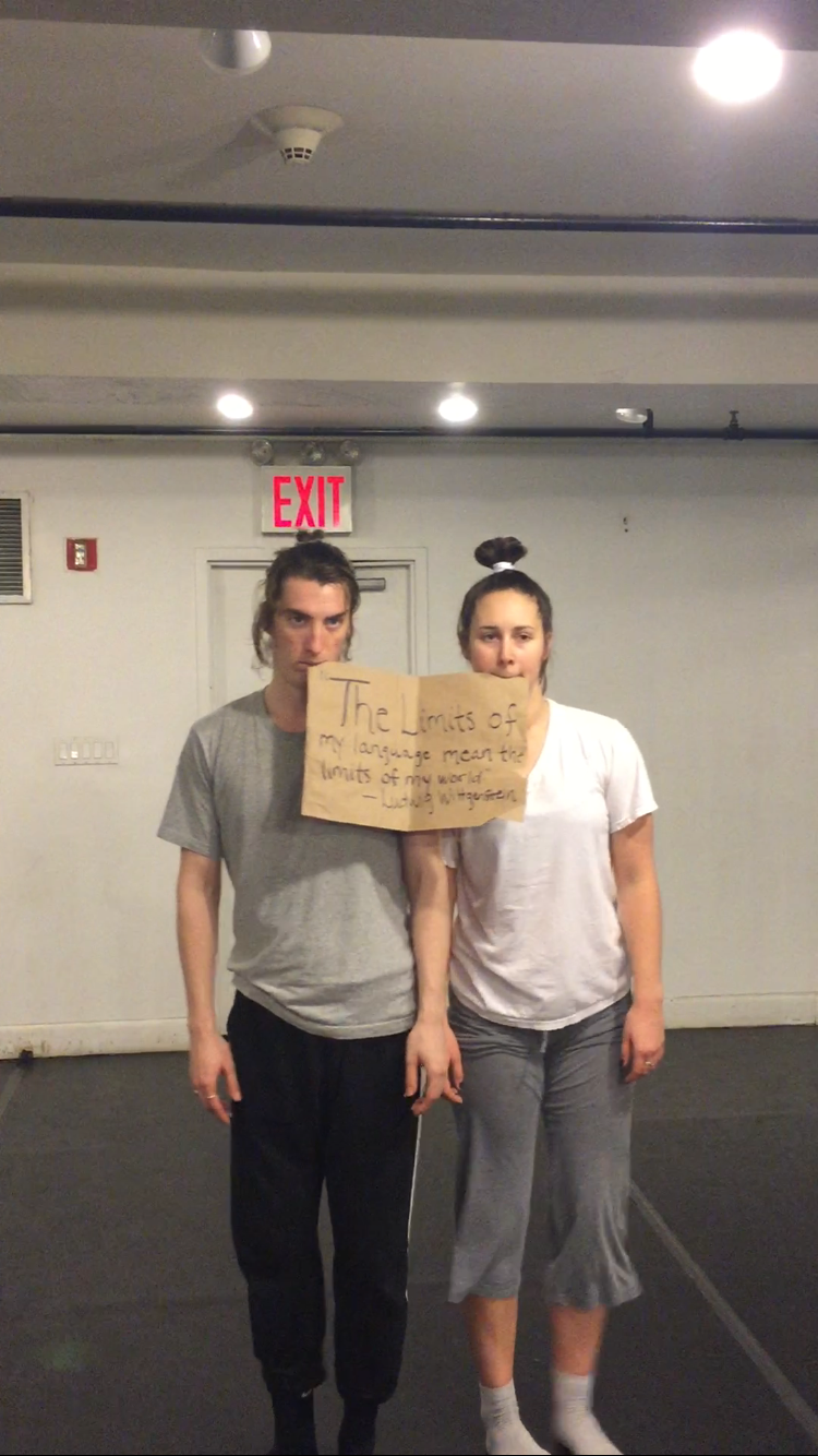Quinn Dixon and Bree Nasby in rehearsal for Excuse Me?