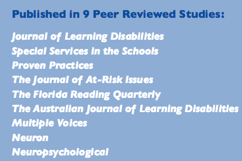 FFR published in nine peer reviewed journals: The Journal of Learning Disabilities, Special Services in the Schools, Proven Practices, The Journal of At-Risk Issues, The Florida Reading Quarterly, The Australian Journal of Learning Disabilities, Multiple Voices, Neuron, Neuropsychological