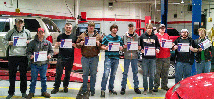 Left to right: Christian Kuhns, Dakota Burgess, Max Crafard, Connor Vanbuskirk, Max Taylor, Corbin Brewer, Zach Hillier, Zach Bowers, Cody Coburn and Jeffery Lawrence.