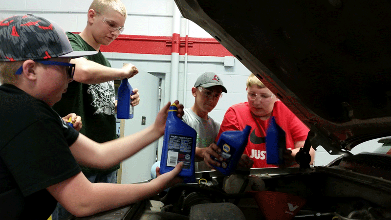 Automotive Technology students learned many basics of vehicle maintenance, including oil changes and proper tire inflation.