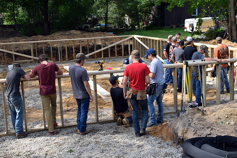 The CTE Construction Trades students started the project in September with a hole in the ground.