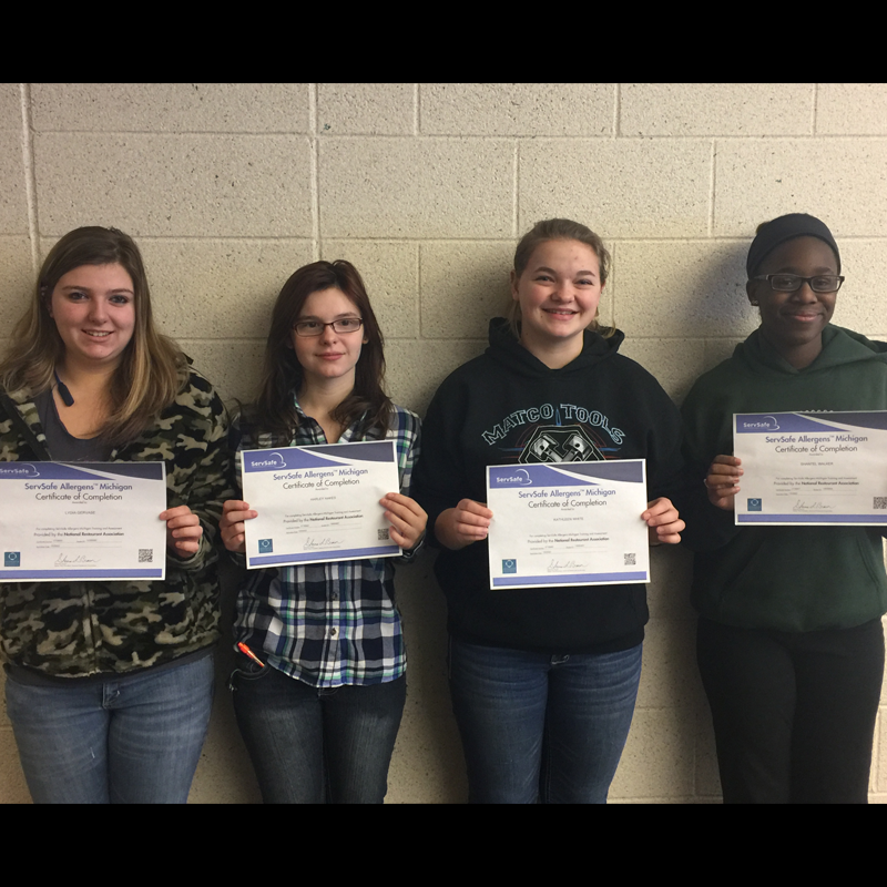 Culinary Arts morning students earning ServSafe Allergens certification include Lydia Gervase, Harley Hakes, Kathleen White and Shantel Walker.