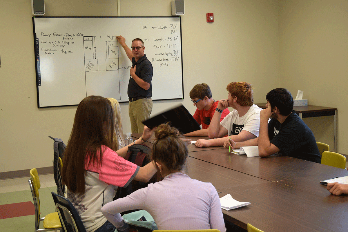 The early days for Ag-Science students include laying out plans for animal housing and the surrounding property.