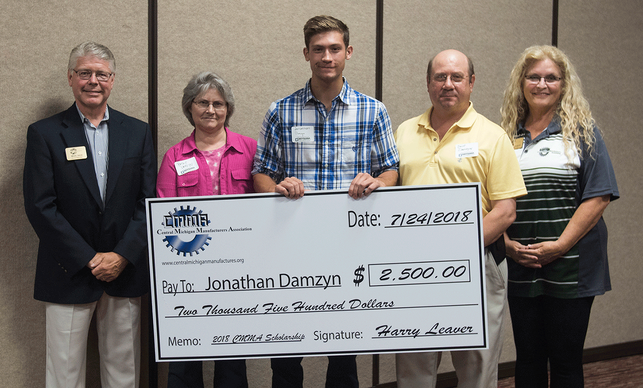 Receiving a $2,500 scholarship from the Central Michigan Manufacturers Association