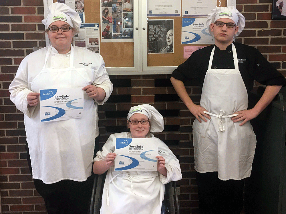 PM class - ServSafe Manager Food Safety Certificate  Left to right - Maddison Baldwin (HHS senior), Kelsey Rhind (GHS senior), & Corbin Burrous (FHS senior)