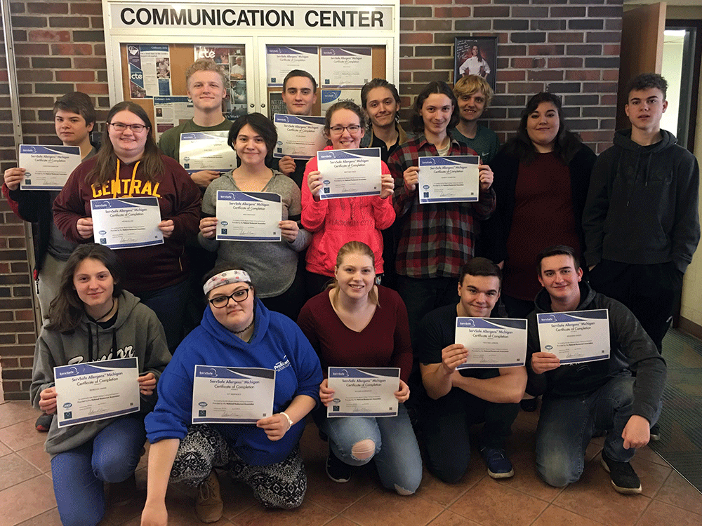 AM class - ServSafe Allergens Certificate  Back row left to right - Christian Gamache (BHS senior), Kade Tripp (BHS junior), Dylan Greer (BHS senior), Brandon Asch (CHS senior), Adam Archbold (FHS senior), Maisie Commet (FHS senior), & Isaac Moore (BHS senior)  Middle row left to right - Megan Allen (CHS senior), Aria Santiago (CHS senior), Brittany Hale (CHS junior), Damien Thompson (CHS senior)  Front row left to right - Rebecca Hakes (HHS junior), Ivy Iadipaolo (HHS junior), Rychelle Bradley (CHS junior), Trisitian Larman (FHS senior), & Branden Greer (BHS senior) (Also, not pictured Kira Saylor - BHS junior)