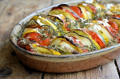 Tian  Provencal Meal. Vegetables mix.