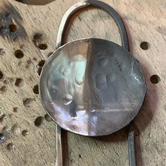 I think this is probably my favorite part of the process...The End. Cleaning and polishing the piece...watching it gloss up. SHINY! .  This new pendant stayed tarnished after the pickle bath so its super dark...even more of a dramatic difference! The metal goes through such a big chemical transformation. It's so pretty when it's finished!