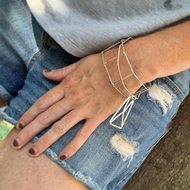 Two new sterling pieces made for my Trunk Show on Thursday...Cage Bracelet and Organic Bangle with Abstract Charm. I'm loving these worn as a set! . Join me at @artuntitled Sept 19, 5-8 to try these on in person.
