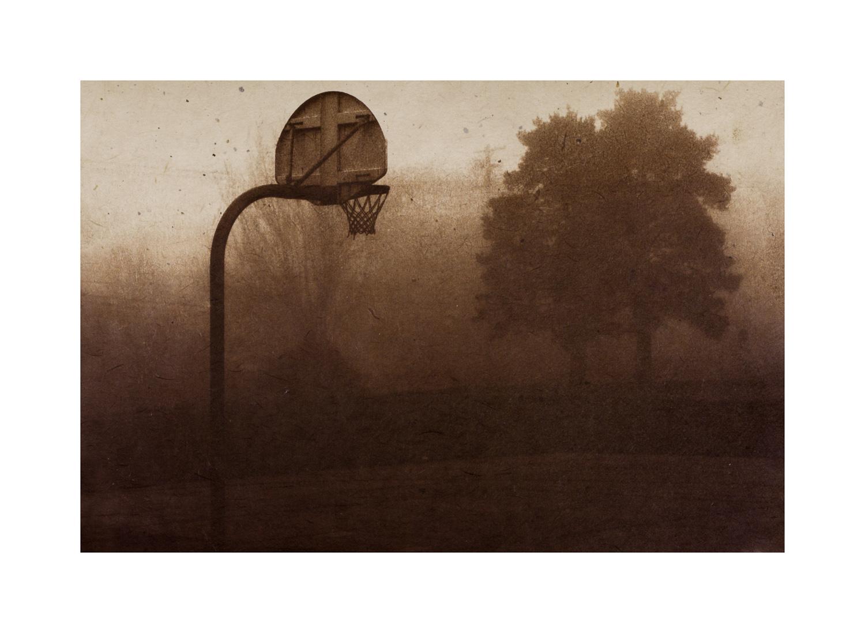 "1 on 1  Van Dyke brown print with chine collé 7 x 10"" 2013"