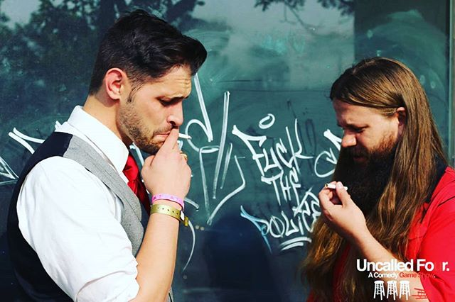 One of my favorite old pics of Jake and I getting ready to go on stage for Uncalled Four. Make sure and get your tickets for U4 this Sunday, 7pm at Comedy Works. Hit me up for a super secret promo code.  #tbt #denvercomedy #denverevents #uncalledfour #comedyshow