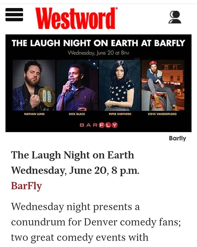 Thanks to @byronfg and the Westword for naming Laugh Night tomorrow as one of the 5 best shows of the week. I'll be in New Mexico so Steve will be filling in.
