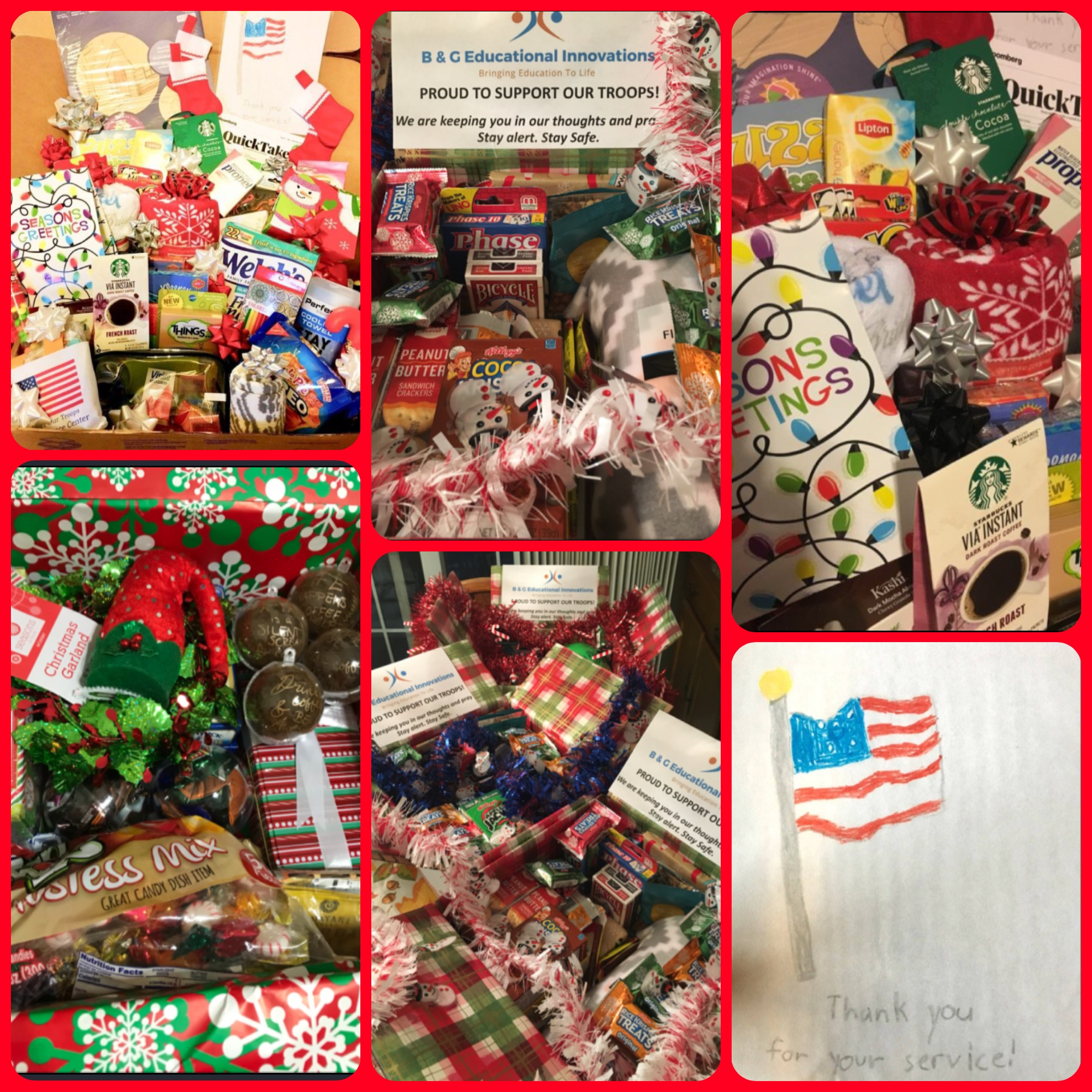 BGEI proudly sent 8 jam packed care packages overseas to our military family. Snacks, games, essentials and even some well written letters from Grace Baptist Church Daycare kids (ages 4-10) showing our gratitude for the sacrifices that are being made.