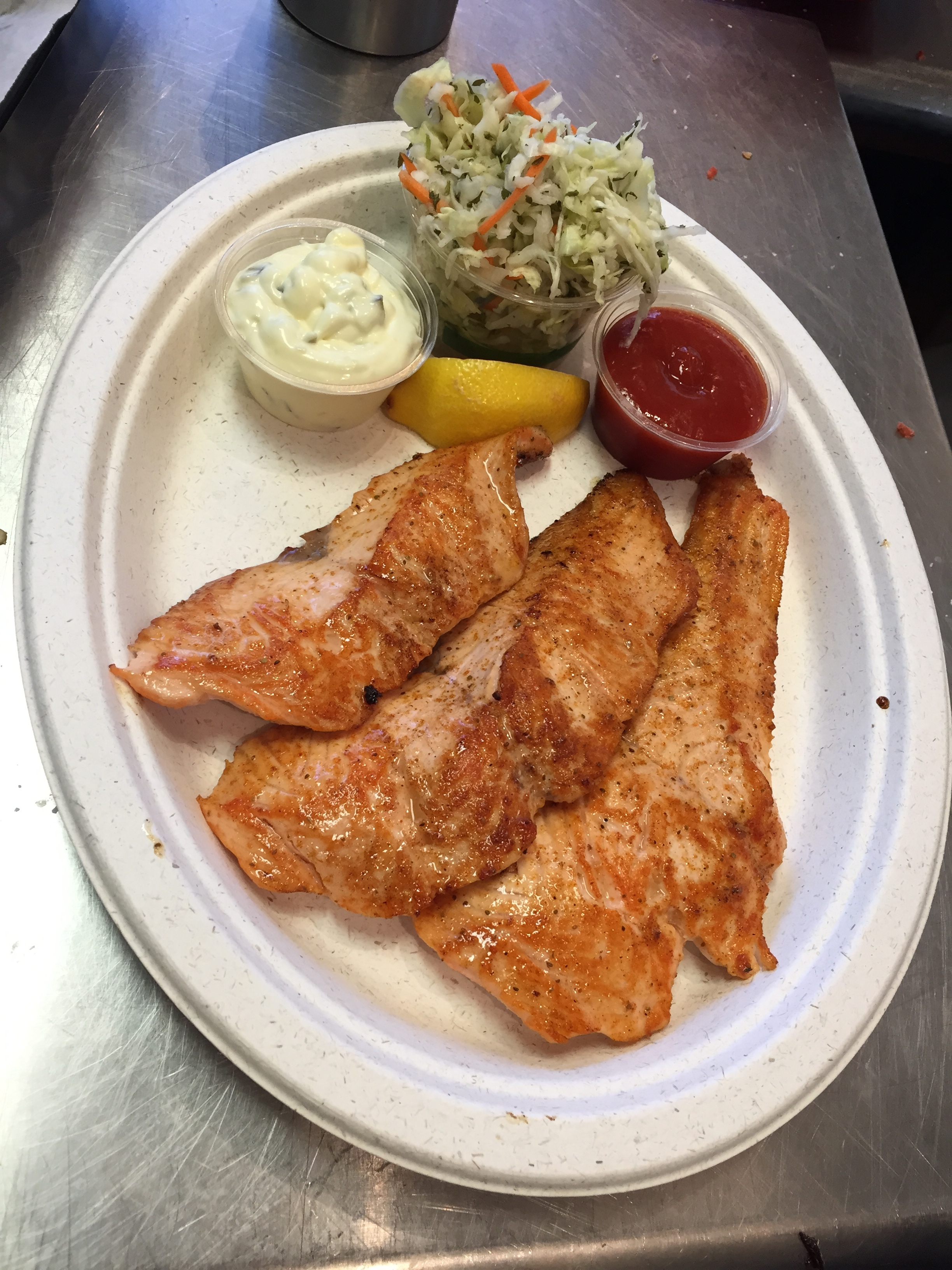 The grilled salmon at Tin Fish  Photo credit: Sheffield Priest